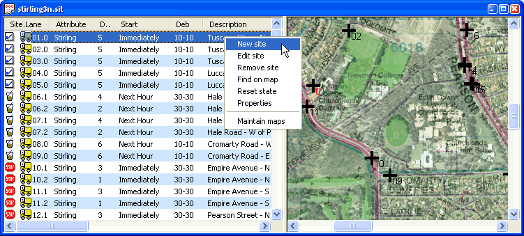 Site List with map in MCSetup - note the right-click menu