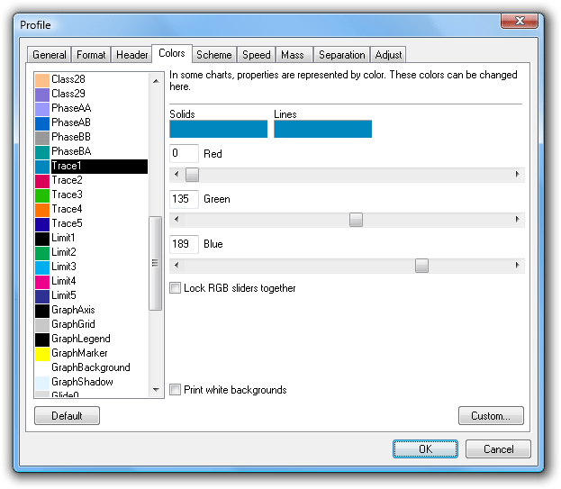 Customising report colours