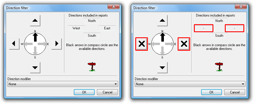 Toggling included directions