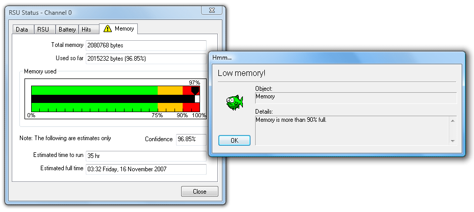 Memory usage warning message