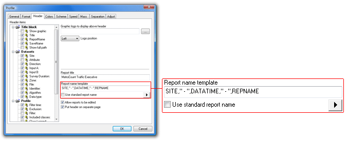 Changing the report name format