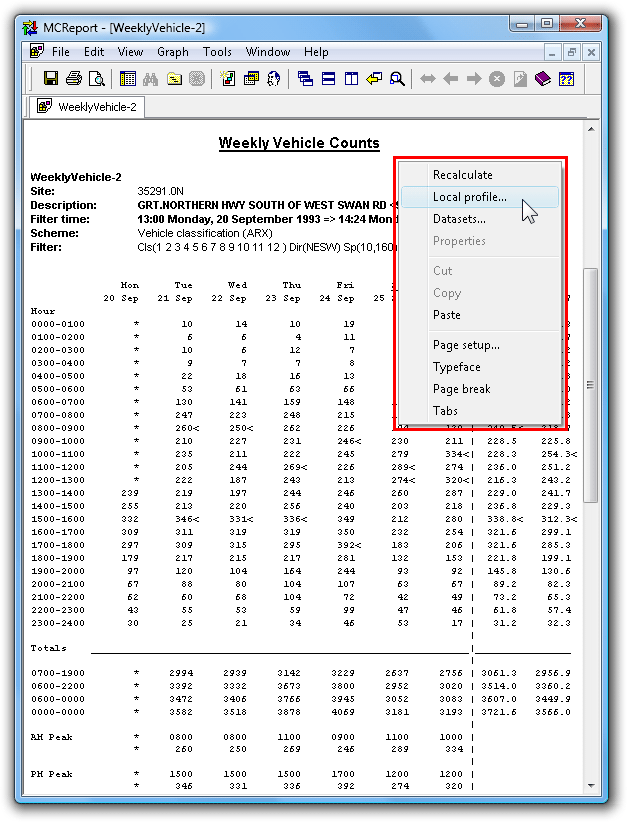 The generated report, showing right-click menu